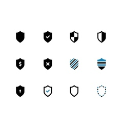 Shield duotone icons on white background vector