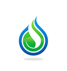 Ecology water drop leaf logo vector