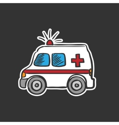 Colored ambulance doodle drawing vector