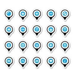 Map location markers pointers icons set vector