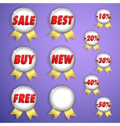 Set of red shiny badges with ribbons on sale vector