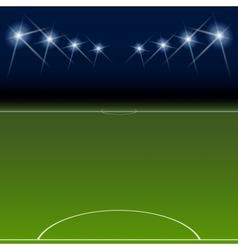 Green soccer field bright spotlights vector