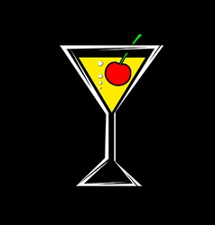 A glass with a cocktail and cherry isolated on a vector