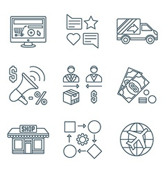 Various dark color outline business distribution vector