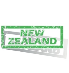 Green outlined new zealand stamp vector