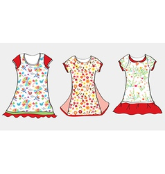 Dresses and t-shirt design for girl vector