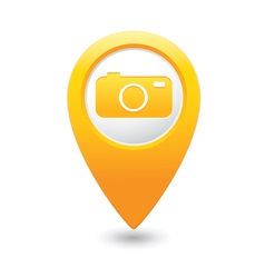 Camera icon on map pointer yellow vector