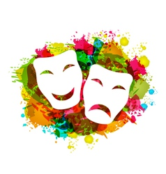 Comedy and tragedy simple masks for carnival on vector