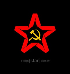 Origami red star with socialist symbols on black vector