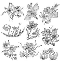Decorative flowers set vector