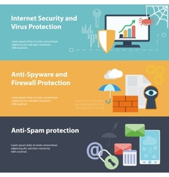 Flat banner set with hacking virus protection vector