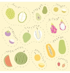 Set of hand drawn tropical fruits part 2 vector