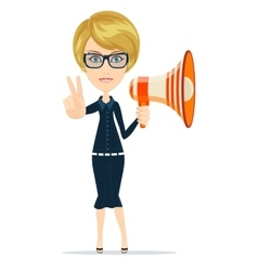 Female messenger negotiator with a loudspeaker vector