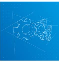 Gears blueprint background vector