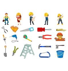 Construction worker set vector