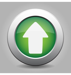 Metal button with the green arrow vector