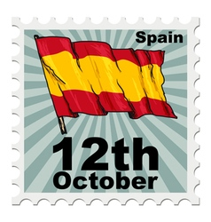 Post stamp of national day of spain vector