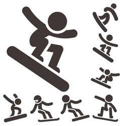 Snowboard icons vector