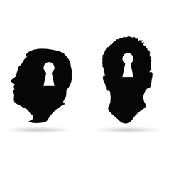 Human head and keyhole on it vector