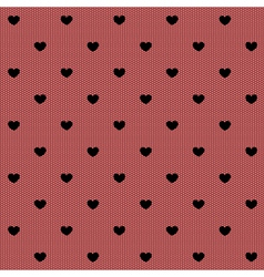 Seamless black lace with hearts vector