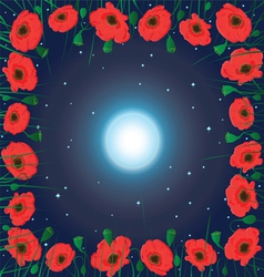 Moon on the sky and field of poppy flowers vector