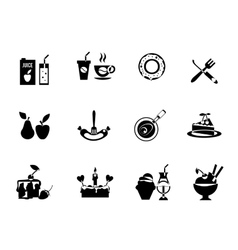 Set of black food icons vector
