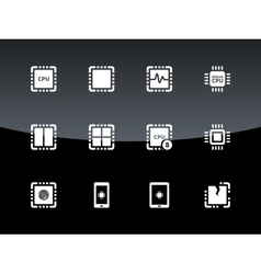 Cpu icons on black background vector