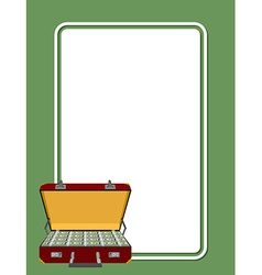 Card for greetings suitcase full of money vector