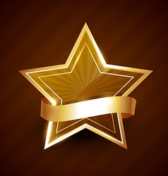 Golden star shining with ribbon vector