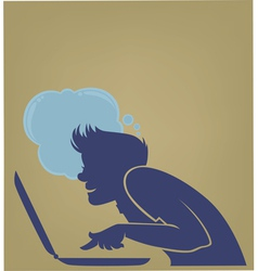 Young computer user vector
