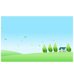 House and green landscape vector