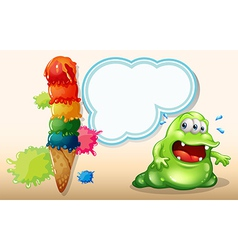 A sweaty fat monster near the giant icecream vector
