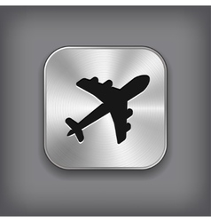 Airplane icon - metal app button vector