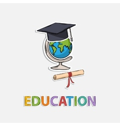 Concept icon educationglobe scroll hat graduate vector