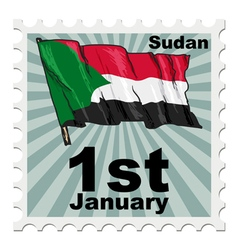 Post stamp of national day of sudan vector
