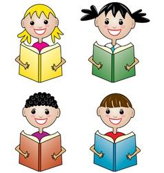 Children holding books vector