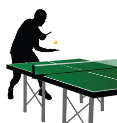 Ping pong player silhouette 2 vector