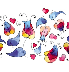 Rainbow tulips and hearts vector