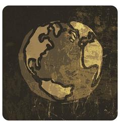 Grunge earth symbol hand drawn vector