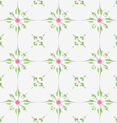 White tile ornament with pink and green vector