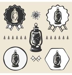 Kerosene lamp lantern vintage symbol emblem label vector