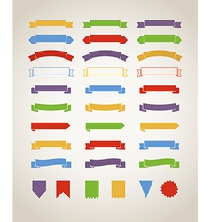 Different retro style red ribbons set isolated on vector