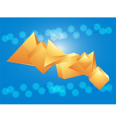 3d glass pyramid and cube on blue background vector