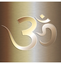 Abstract golden background with om mantra vector