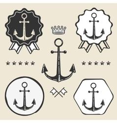 Anchor vintage symbol emblem label collection vector