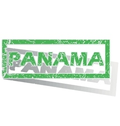 Green outlined panama stamp vector