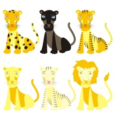 Isolated felines vector
