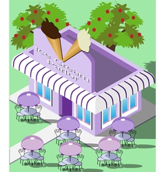 Isometric ice cream parlor vector