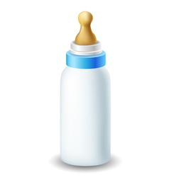Blue nursing bottle vector