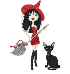 Girl witch with broom and black cat vector